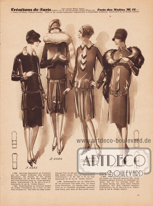 Zwei Nachmittagskleider aus schwarzem Samt, ein Kleid aus lila Chiffon-Samt sowie ein Kleid aus lila Samt.Das erste Kleid zeigt Tressenaufputz, eine Knopfleiste in der Front und schmalen Pelzbesatz an Kragen und Ärmelaufschlägen. Das zweite Modell wird ebenso von Tressen geziert und präsentiert an der Vorderseite des Rockes ein wasserfallartiges Arrangement. Pelzröllchen zieren Kragen, Einsatz und Ärmelaufschläge des dritten Kleides. Über dem gereihten Rock legen sich angeschnittene Patten. Das vierte Modell zeigt eine durch das Kleid geführte Krawatte aus Taft, das auch an Kragen und Gürtellinie zum Einsatz kommt.