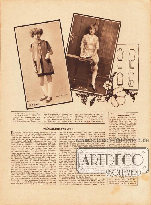 Artikel:K., A., Modebericht.3049: Kleidchen in loser Form aus pastellblauem Kaschmir mit Aufputz aus marineblauem Samt für Mädchen von 8 bis 10 Jahren. Am eingeschlungenen Kragen und den Krawattenenden Hohlnahtverzierung.3050: Sommerkleid aus karierter Waschseide mit weißem Einsatz und passendem Kragen für Mädchen von 6 bis 8 Jahren. Der glatten Bluse fügt sich der Rock gekräuselt an.Fotos: H. M. Talma&#x3B; unleserlich.