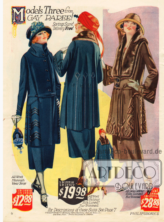 Kostüme mit wadenlangen Röcken. Die verarbeiteten Stoffe sind Woll-Velours und Woll-Serge, der vorrangig in der Männermode Verwendung findet. Die Seidenstickerei ist obligat und unabdingbar. Der Bieberpelzbesatz des rechten Modells ist im sog. Tuxedo-Stil gearbeitet.