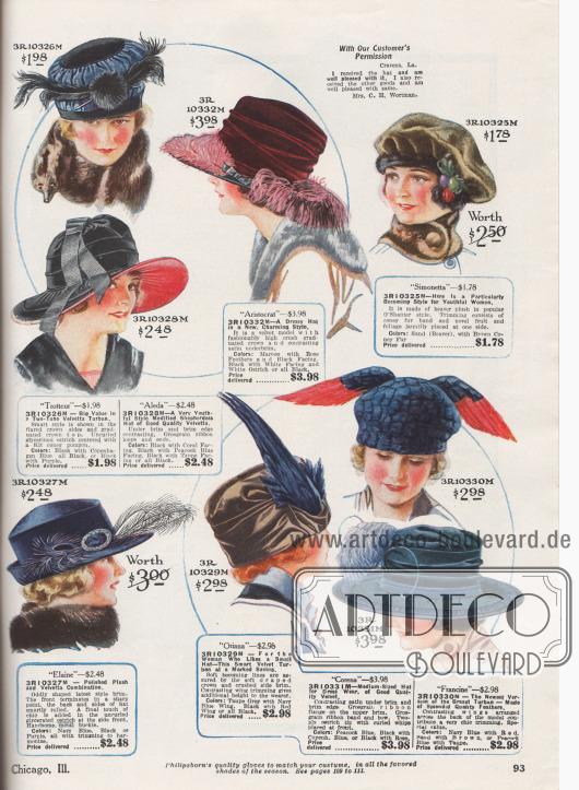 """Kleidsame Damenhüte aus Velvetta (wohl samtartiger Stoff), Samt, Biber Plüsch (Webpelz), schimmerndem Plüsch, Satin oder vollständig aus Federn. Unter den Modellen befinden sich mehrere breitkrempige Hüte, darunter ein Schäferinnen Hut mit schutenartig gebogener Krempe (engl. """"Shepherdess Hat"""", 3R10328M), zwei Turbane und eine Schottenmütze aus Webpelz. Bei mehreren Modellen ist der Samtstoff Falten bildend um den Hutkopf drapiert. Als Zierrat dienen glycerinierte Straußenfedern, Ripsbandgarnituren, Kunstfrüchte und künstliches Blattwerk, Metallschnallen sowie ganze Vogelflügel und Vogelflanken."""