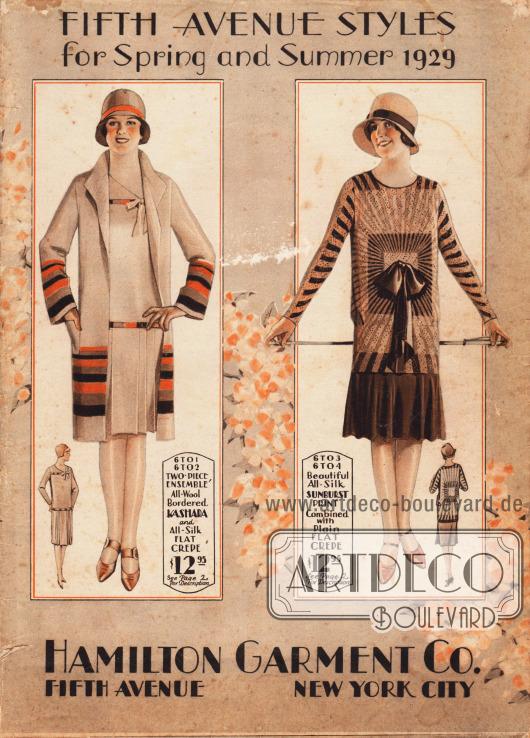 Cover des Frühjahr/Sommer Katalogs der Firma Hamilton Garment Co. von 1929.  Links ein Ensemble bestehend aus Kleid und Mantel aus Wolle mit Kasha Borte und Seiden Krepp sowie rechts ein mondänes Nachmittagskleid aus Seiden Krepp mit einem ausstrahlenden Sonnenschein Motiv (Erklärungen der Modelle auf Seite 2).
