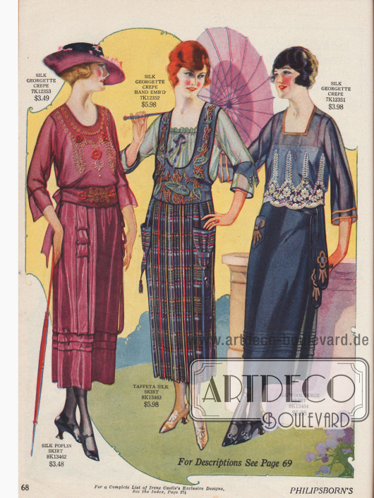 Genau aufeinander abgestimmte Röcke und Blusen mit Stickereien oder aufgesetzten Taschen. Die Röcke sind aus Seiden-Popeline, Seiden-Taft und Woll-Serge. Die Blusen bestehen allesamt aus Seiden-Georgette Krepp und präsentieren dreiviertellange Ärmel. Das mittlere Modell erinnert stark an ein Jumper Ensemble.