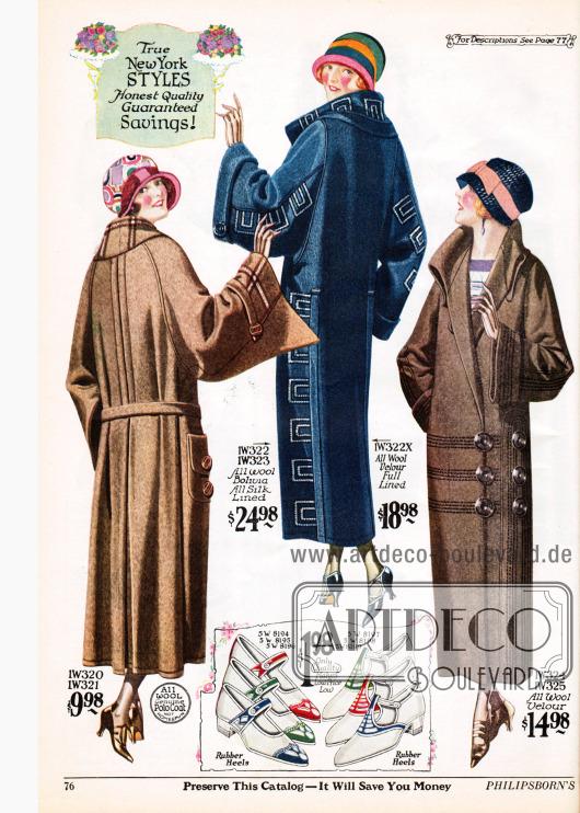 """Damenmäntel aus Woll-Polostoff, Woll-Bolivia oder wahlweise Woll-Velours. Augenfällig sind die weiten glockig geschnittenen Ärmel an allen drei Mänteln. Vor allem der erste Mantel präsentiert noch den weiten Schnitt, der vor allem zu Beginn der Dekade modern war. Der zweite Mantel zeigt schlichte, aber wiederkehrende Stickereien an Kragen, Ärmeln und zu beiden Seiten unterhalb der Ärmel. Der dritte Mantel besitzt sechs große Knöpfe und zeigt dezente Linienstickerei. Unten im Bild befinden sich sogenannte """"two tone Egyptian strap pumps"""" aus weißem Canvas mit farbigem Lederbesatz."""