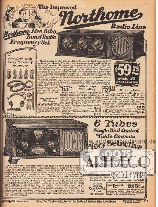 """""""Die verbesserte Northome Radio-Produktlinie"""" (engl. """"The Improved Northome Radio Line"""").Zwei Radioempfangsgeräte der Marke Northome mit fünf bzw. sechs Radioröhren (Elektronenröhren). Im Lieferumfang des oberen Radios sind enthalten: entweder eine wiederaufladbare, große Batterie (für 65,95 Dollar) oder sechs Trockenbatterien (für 59,75 Dollar) für ländliche Haushalte ohne Stromanschluss, fünf Elektronenröhren (CT201A), eine 100 Ampere Batterie, zwei große 45 Volt """"B"""" Batterien, ein 2000 Ohm Kopfhörer mit Anschluss, eine Standardantenne und ein Handbuch.Die Geräte kamen in dekorativen Gehäusen aus amerikanischem Walnussholz, mit abgeschrägter Front und mit dunkler Blende über der Schaltfläche. Beim unteren Radio ist diese Fläche aus Metall mit eingeätzten Ornamenten. In beiden Geräten verbargen sich Trichter hinter den Lautsprecherabdeckungen aus Stoff. Beide Modelle konnten über Ratenzahlung (siehe S. 441) und für 30 Tage auf Probe gekauft werden."""