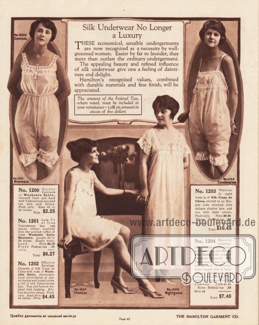 """""""Seidenunterwäsche ist nicht länger ein Luxus"""" (engl. """"Silk Underwear No Longer a Luxury""""). Exquisite Damenunterwäsche sowie ein Nachthemd für Frauen aus Waschsamt oder Seiden-Crêpe de Chine. Oben links eine zweiteilige Kombination bestehend aus Damenuntertaille und Schlupfhöschen, oben rechts eine einteilige Hemd-Höschen-Kombination und unten links ein knielanges Unterhemd. Die Unterwäsche und der Nachtrock sind mit Valenciennes-Spitze, Schattenspitze, Spitzenrüschen, leichten Perl-Stickereien oder zierlichen Schleifchen versehen."""