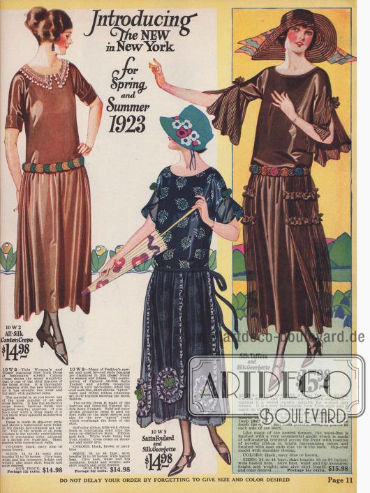 Tief gerutschte Gürtellinien, weite, falten werfende Röcke und wieder längere Röcke zeigen die neuesten Kleider für Frühjahr und Sommer 1923. Drei Damenkleider mit kurzen Ärmeln aus Seiden Krepp, Satin-Foulard und Seiden-Taft präsentieren die neue Linie.