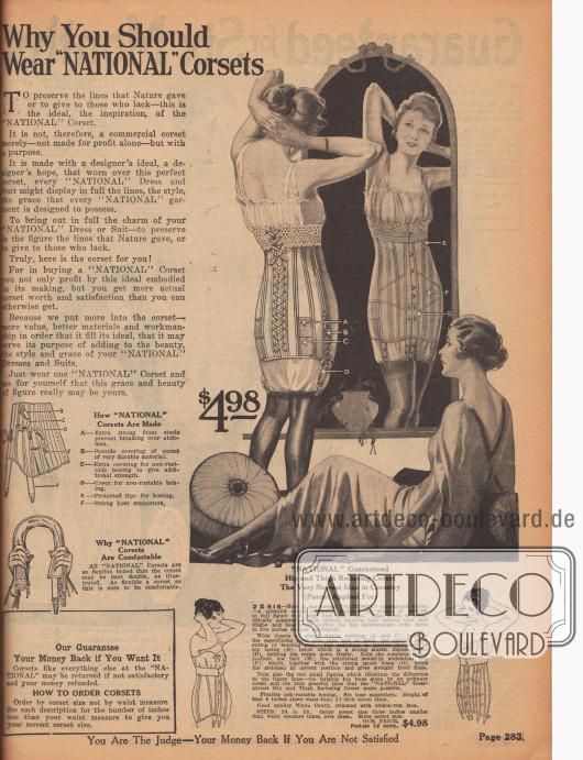 """""""Warum Sie 'National' Korsetts tragen sollten"""" (engl. """"Why You Should Wear 'National' Corsets""""). Beginn der Abteilung für Damenkorsetts mit einem Spezial-Korsett, das den Hüftumfang garantiert um 3 bis 5 Inch (7,62 bis 12,7 cm) reduzieren soll. Das Modell mit Rückenschnürung ist aus weißem Coutil (fest gewebter Baumwollstoff) und weichen Spiraldrähten hergestellt. Elastische Einsätze am Gesäß, seitlich anpassbare Schnürung und ein eingebauter Bauchgurt ermöglichen das leichte und bequeme Anpassen der Figur an die gewünschte Form. Sechs Strumpfbandhalter halten das Korsett unten in Form. Oben Spitzenborte."""