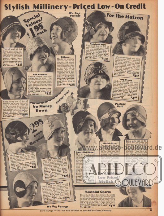 Doppelseite mit Hüten für Frauen und Mädchen. Sämtliche Glocken und turbanartigen Kappen sind aus Filz und besitzen keine, kurze oder umgeschlagene Krempen. Ripsbänder, Stickereien mit Metallfäden, plissierte Bändchen und Broschen dienen als dezenter Zierrat.