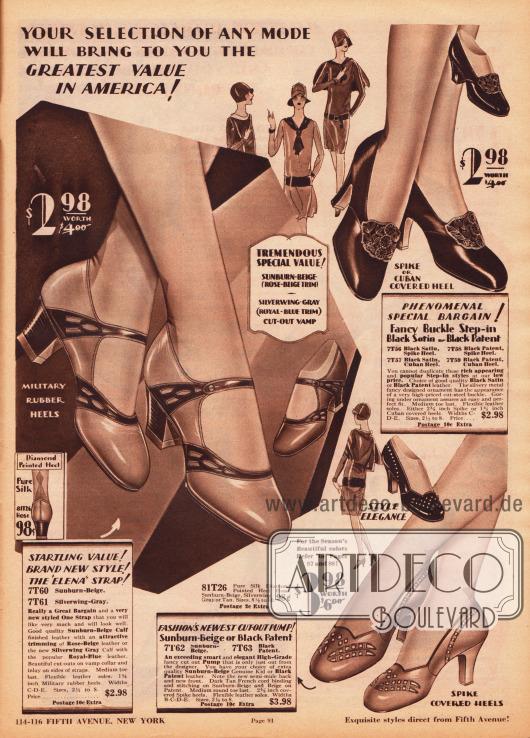 """Ein Paar Schnallenschuhe, ein Paar Pumps und ein Paar Kolonialpumps aus schwarzen Lackledern, beigefarbenen Rindsledern oder schwarzem Satin. Die Kombination von unterschiedlich farbigen Ledersorten erzeugt besonders schöne Kontraste. Besondere Muster werden durch Ausstanzungen und Perforationen hergestellt. Die Kolonialpumps oben rechts sind mit einer großen, ornamentierten Metallbrosche versehen. Die Damenschuhe sind mit hohem """"spike heel"""" Absatz, mittel hohem Kubanischem Absatz oder militärischen Absatz bestellbar. Die Kappen sind abgerundet."""