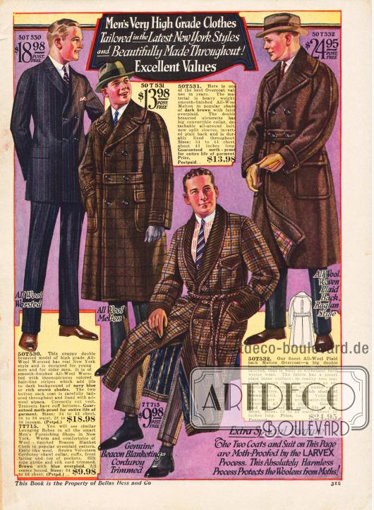 Morgenmantel, zweireihige Ulstermäntel und ein doppelreihiger Anzug in der Modelinie des Jahres 1923.