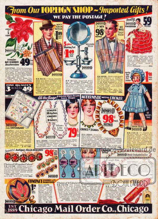 Rückseite des Kataloges mit günstigen Schnäppchen (Importware) aus Europa. Unter den Angeboten sind Ansteckblumen aus Stoff, fein gemusterte Herrenschals aus Rayon und Woll-Flanell, ein Rasierset mit Spiegel für Männer, eine Porzellan- und eine Spielzeugpuppe für Mädchen, Stofftaschentücher aus der Schweiz, Ketten und Ohrringe (Modeschmuck), Gesichtspuder und ein torpedoartig geformter Parfümflakon.