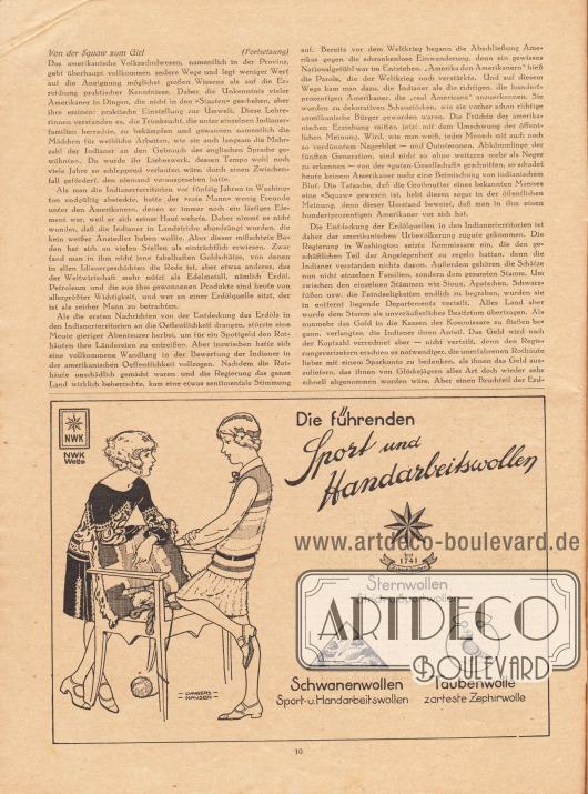 """Artikel:Hecht, Robert, Von der Squaw zum Girl.Werbung:""""Die führenden Sport und Handarbeitswollen"""", Sternwollen, Strick- und Sportwollen, Schwanenwollen, Sport- u. Handarbeitswollen, Taubenwolle, zarteste Zephirwolle, NWK Wolle.Zeichnung/Illustration: -Lungers- -Hausen- (Ilse Wende-Lungershausen, 1900-1991)."""