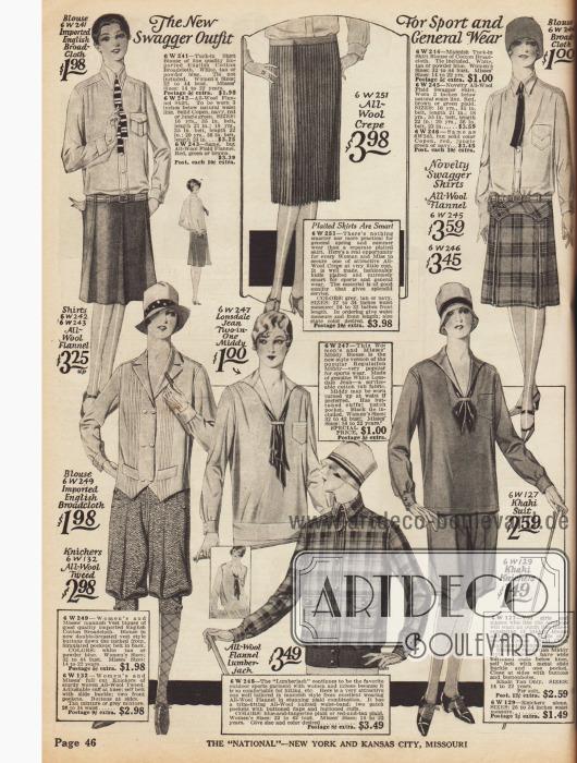 Maskuline Damensportkleidung. Die Hemden (auch ein Holzfällerhemd) können wahlweise mit Röcken oder Knickerbockern aus Tweed kombiniert werden.