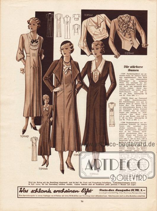 Nachmittagskleider, ein Complet und zwei Blusen für stärker gebaute Damen.7537: Nachmittagskleid aus gestreifter Seide mit vorne eingearbeiteter Faltengruppe. Eng anliegende Manschetten, gebauschte Ärmel und eine kleidsame Ausschnittgarnitur runden das Modell ab.7538/39: Kleid aus Pepitastoff mit weißer Ausschnittgarnitur. Das Kleid bildet mit dem Mantel aus einfarbigem leichtem Wollstoff ein Complet (Ensemble).7540: Nachmittagskleid aus marineblauem Wollstoff mit Kragen und Einsatz aus weißer Seide. Der Rockvolant wird durch die vordere durchgehend geschnittene Bahn gehalten.7541: Bluse aus weißem Marocain mit Raglanärmeln.7542: Westenbluse aus schwerer Seide, die enganliegend gearbeitet wurde. Gemusterte Seide bildet die Ausschnittgarnitur, die Schleife und die Ärmelaufschläge.