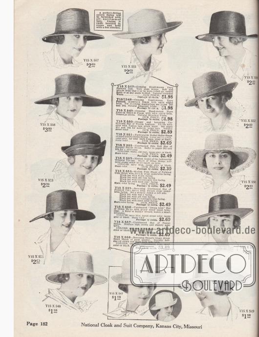 """Zwölf Damenhüte ohne Aufputz, die zum Selbstdekorieren bestimmt sind. Passende Gebinde, Federnarrangements oder Ornamente werden auf den Seiten 183 und 184 angeboten. Die vorgefertigten Hutstumpen sind aus handgewebtem Toyo-Panama, Livorno bzw. Livorneser Stroh, Milan-Hanfstroh, Glanzstroh, gelacktem Stroh oder """"Chip Straw"""" (Geflecht aus weichem Holz). Alle Modelle sind mit Satin innen ausgeschlagen bzw. gefüttert. Die Sommerhüte zeigen einseitig oder gleichmäßig gebogene, sehr breite oder kurze Krempen. Ein Dreispitz-Turban mit glänzender Tresse Mitte links (Y15X553)."""