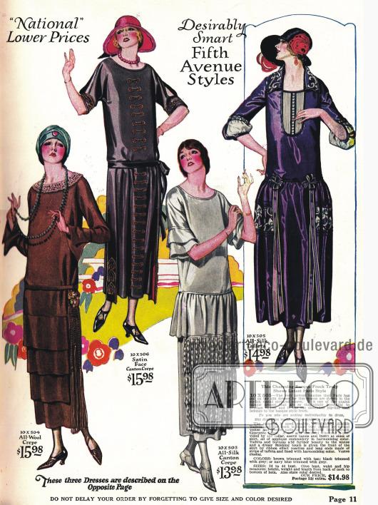 Kleider mit geradlinigem Schnitt. Auch Stilkleider sind 1924 noch sehr modern (Kleid rechts außen).
