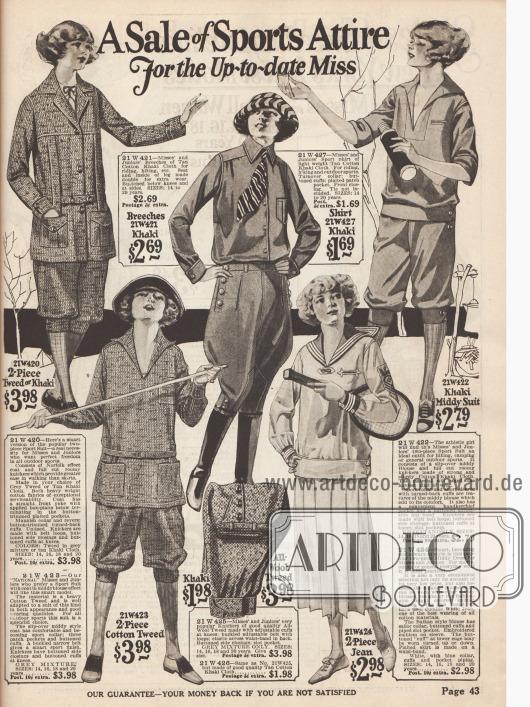 """""""Ein Verkauf von Sportkleidung für die moderne junge Frau"""" 2-teilige Sportanzüge aus Kakistoff und Tweed werden hier angeboten. Diese bestehen aus einer Knickerbockerhose und einer Jacke, die auch im Norfolk-Stil gehalten sein kann (oben links).  In der Mitte wird ein Reitanzug gezeigt, der aus einem Sporthemd und Breeches besteht. Ein Tenniskleid ist unten rechts."""