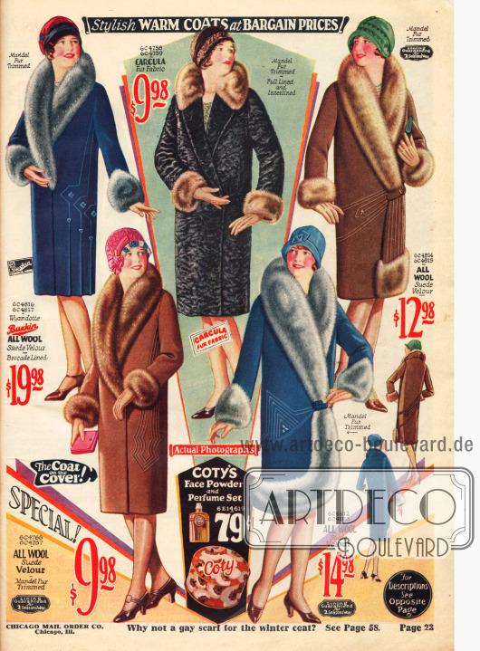 Wintermäntel für die Dame mit reichen Pelzverbrämungen an Kragen und Ärmeln zu moderaten Preisen.