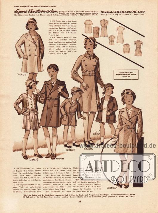 5675: Mantel aus hellem, leichtem Wollstoff mit Stepperei. Doppelreihig geknöpfte lose Form mit eingearbeiteten Taschen. Schnitt für Mädchen von 4 bis 8 Jahren.5676: Complet: Rock und Jäckchen aus kariertem Wollstoff, durch eine Bluse aus weißem Wollgeorgette vervollständigt. Schnitt für Mädchen von 4 bis 8 Jahren.R 448: Regenmantel aus Loden mit Kapuze. Die Ärmel können durch die angeknöpften Blenden enger gestellt werden. Schnitt für Knaben von 6 bis 10 Jahren.5677: Raglanmäntelchen aus farbigem Tuch mit aufgesteppten Taschen und ausspringender Falte im Rücken. Schnitt für Knaben von 2 bis 6 Jahren.5678: Reise- und Schulmantel aus Kamelhaarimitation mit modern angeordnetem Knopfbesatz. Kragen und Ärmel sind durchgesteppt. Schnitt für Mädchen von 10 bis 14 Jahren.5679: Mäntelchen aus rotem Wollgeorgette, mit Plisseerüschen und Biesen garniert. Schnitt für Mädchen von 2 bis 6 Jahren.5680: Mantel aus Diagonal-Wollstoff mit breiten, gesteppten Rändern. Hohe Manschetten. Schnitt für Mädchen von 6 bis 10 Jahren.