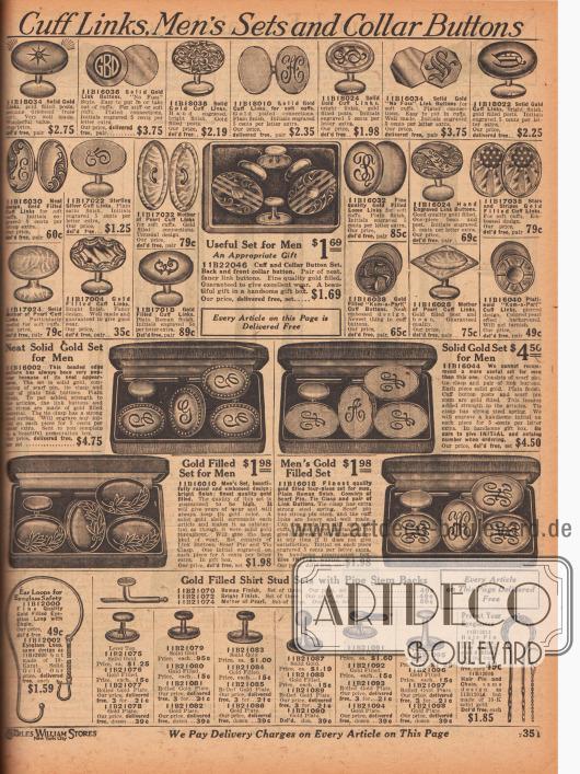 """""""Manschettenknöpfe, Schmuckgarnituren für Herren und Kragenknöpfe"""" (engl. """"Cuff Links, Men's Sets and Collar Buttons""""). Oben sind Manschettenknöpfe in unterschiedlichen Aufmachungen aus vergoldetem Metall, Sterling Silber, Perlmutter oder purem Gold zu finden. Ein Paar Manschettenknöpfe ist im patriotischen """"Stars and Stripes"""" Design gehalten, während ein Modell mit Swastika aufwartet (1919 noch ohne politische Konnotation). Darunter befinden sich Schmuck-Sets für Herren bestehend aus Manschettenknöpfen, Kragennadeln und Krawattenspangen im einheitlichen Design aus vergoldetem Metall oder echtem Gold. Unten werden Brillenschlaufen mit Kette sowie dekorative Hemdknöpfe für feine Anzug- oder Frack-Hemden angeboten."""