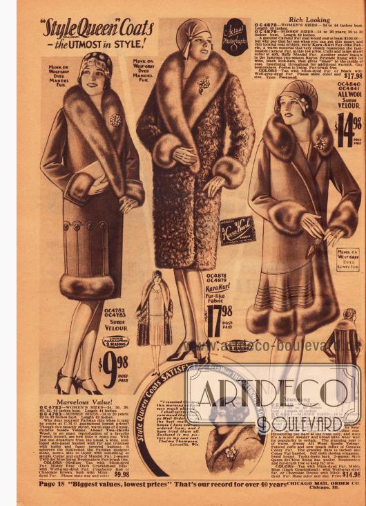 """Damenmäntel der Firmenmarke """"Style Queen"""" sollen den Käuferinnen höchste Qualität zu niedrigen Preisen garantieren. Die gezeigten Mäntel sind aus Woll-Velourleder und Karakul-Pelzimitat (Mitte). Die zusätzlichen Pelzbesätze sind aus gefärbtem """"Mandel fur"""", also chinesischer Schafswolle, und Kaninchenpelz."""