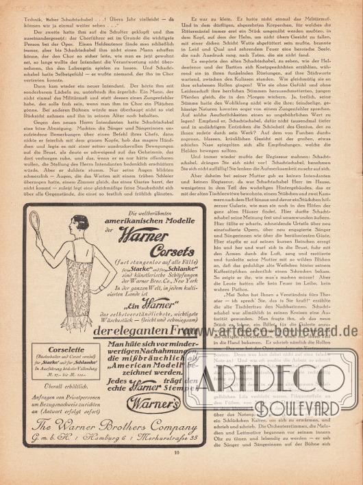 """Artikel: Reuter, Gabriele (1859-1941), Der kleine Chorist.  Werbung: """"Die weltberühmten amerikanischen Modelle der Warner Corsets"""", The Warner Brothers Company G. m. b. H., Hamburg 6, Merkurstraße 35."""