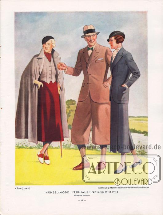 Sportkleidung für den Herrn und die Dame. Gezeigt wird hier ein Sportanzug für den Herrn mit einer wadenlangen Knickerbockerhose sowie ein sportlicher Umhang mit passender Weste und ein Sportkostüm für die Dame. Zeichnung: Harald Schwerdtfeger (1888-1956).