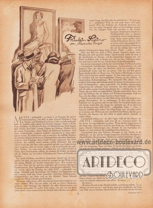 Artikel: Engel, Alexander, Fräulein Sphinx (von Alexander Engel, 1868-1940). Zeichnung/Illustration: Ernst Ludwig Kretschmann (1897-1941). [Seite] 2