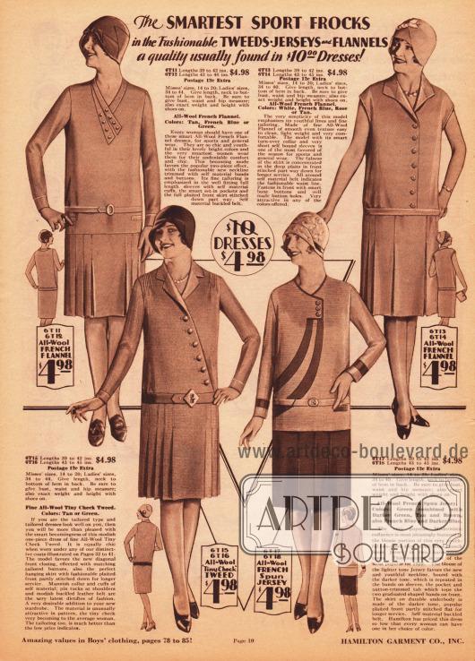 Vier einfache Damenkleider für den Tag oder auch für den Sport aus französischem Woll-Flannel, Woll-Tweed und Woll-Jersey zum Einzelpreis von je 4,98 Dollar. Alle Röcke zeigen eingearbeitete Falten und Kellerfalten. Zwei Kleider besitzen eine Knopfleiste in der Front zum leichten An- und Ausziehen. Während das Modell rechts oben ärmellos ist, besteht das Modell rechts unten aus zwei Teilen; einem hellen Blusenteil und einem Rock aus dunklerem Stoff.