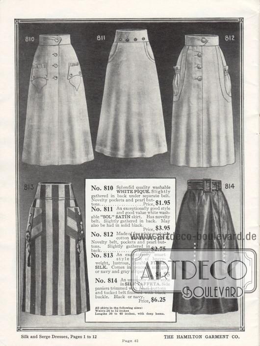 Damenröcke aus Pikee, Satin, Gabardine, Seide und Seiden-Taft. Drei Röcke besitzen aufgenähte Taschen und einer seitlich eingearbeitete Taschen. Bei Modell 814 erweitern seitliche Rockpaneele den Rock. Alle Röcke verfügen einen fest angearbeiteten Gürtel.