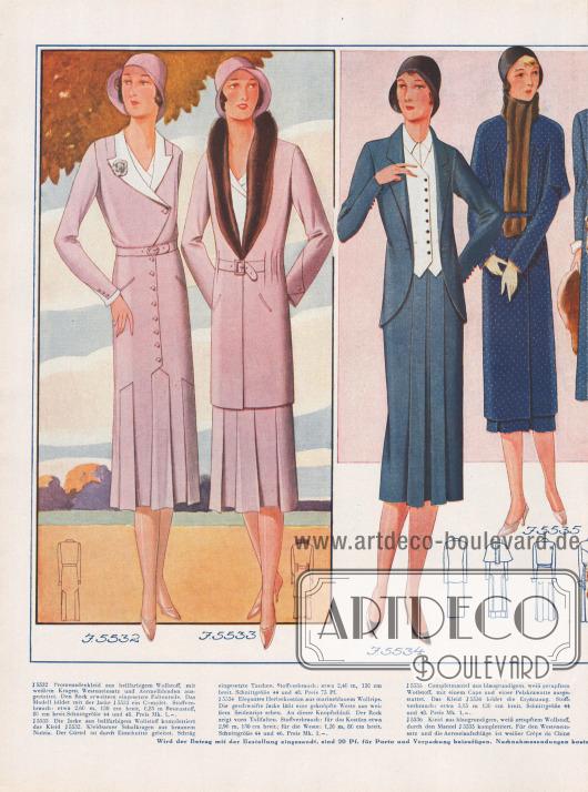 Doppelseite mit herbstlichen Kleidern, Jacken, Mänteln und Kostümen.V.l.n.r.: Promenadenkleid und eine mit Nutria (Bieberratte) besetzte Jacke aus Wollstoff.Herbstkostüm aus marineblauem Wollrips mit geschweifter Jacke, Weste aus Seidenrips und einem Rock mit Tollfalten.Completmantel aus Wollstoff mit Cape und Pelzkrawatte, der das folgende Kleid aus gleichem Stoff komplettiert.Kleid und passender Mantel aus Tweed. Ziersteppereien krönen den Mantel.Kleid aus fein gestreiftem Wollstoff mit abgestuftem Tressenbesatz. Der dazu harmonierende Tuchmantel wird von einem Schalkragen aus Kaninchen aufgewertet.