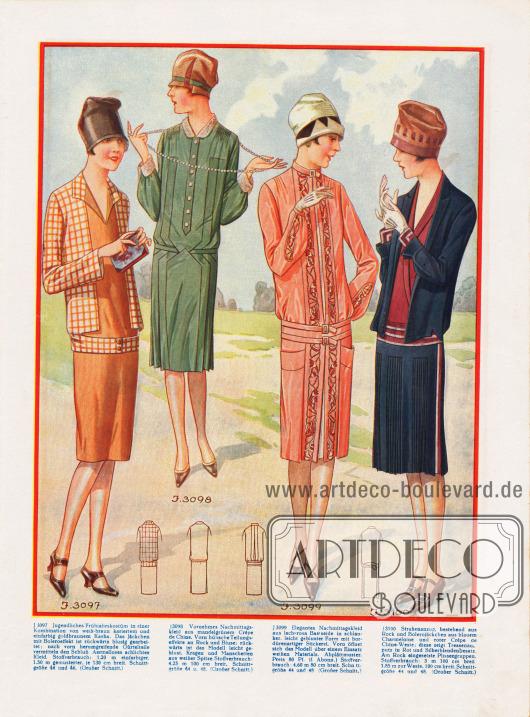 3097: Jugendliches Frühjahrskostüm in einer Kombination von weiß-braun kariertem und einfarbig goldbraunem Kasha. Das Jäckchen mit Boleroeffekt ist rückwärts blusig gearbeitet; nach vorn herumgreifende Gürtelteile vermitteln den Schluss. Ärmelloses schlichtes Kleid. 3098: Nachmittagskleid aus mandelgrünem Crêpe de Chine. Vorn Teilungseffekte an Rock und Bluse; rückwärts ist das Modell leicht geblust. Kragen und Manschetten aus weißer Spitze. 3099: Nachmittagskleid aus lachsrosa Bastseide in schlanker, leicht gebluster Form mit bordürenartiger Stickerei. Vorn öffnet sich das Modell über einem Einsatz weißen Materials. 3100: Straßenanzug, bestehend aus Rock und Bolerojäckchen aus blauem Charmelnine und roter Crêpe de Chine-Weste; diese zeigt Tressenaufputz in Rot und Silberblendenbesatz. Am Rock eingesetzte Plisseegruppen.