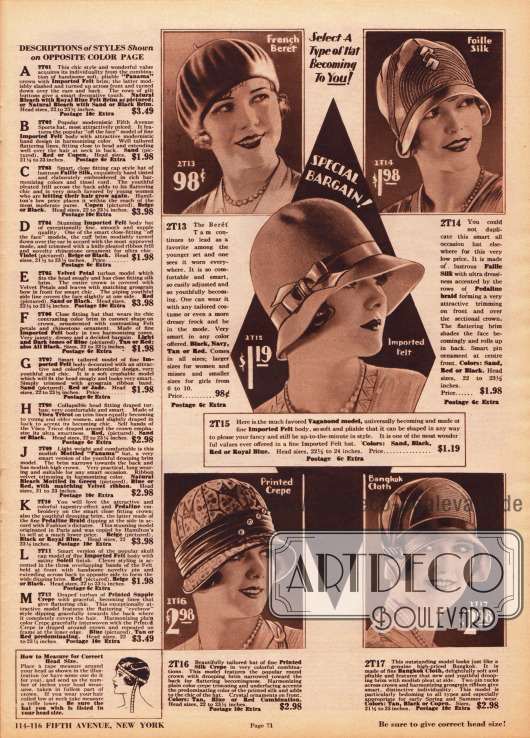 """Fünf Damenhüte aus Filz, Faille-Seide, Pedaline-Gewebe, bedrucktem Seiden Krepp und Bangkok Stroh. Oben links wird eine Baskenmütze (Barett) und in der Mitte ein """"Vagabond model"""" mit tief ins Gesicht reichender Krempe präsentiert. Hutnadeln und Ripsbänder zieren die schlicht gehaltenen Hüte. Links befinden sich die Beschreibungen zu den Hüten auf der gegenüberliegenden Farbseite 70."""