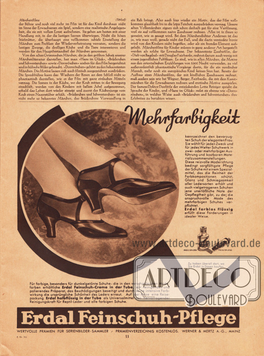 Artikel:O. V., Märchenfilme.Werbung:Erdal Feinschuh-Pflege (Schuhcreme), Werner & Mertz AG, Mainz.