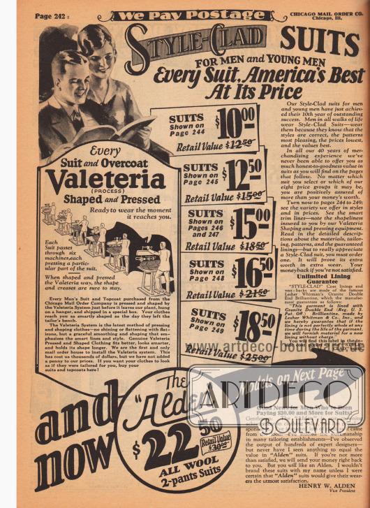 """Eigenwerbung für die nach eigenen Angaben qualitativ hochwertigen Mäntel und Anzüge der Marke Style-Clad. Die Herrenkleidung ist auf den folgenden Seiten nach Preisklassen sortiert und verspricht eine deutliche Ersparnis gegenüber den Preisen des herkömmlichen Einzelhandels. Außerdem wird hier Werbung für den """"Valeteria Process"""", der Pressung und Formgebung, gemacht, so dass die Herrenkleidung makellos und unzerknittert beim Käufer ankommen kann."""