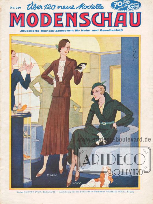 Titelseite der deutschen Illustrierten Modenschau Nr. 229 vom Januar 1932.4790: Kostüm aus braunem Jersey. Die Jacke zeigt vorne Schoßteile und der Rock in der Front eine Faltenpartie.4791: Mantel aus dunkelgrünem Diagonal-Wollstoff mit aparten Schnitteffekten.Zeichnung: Kretschmann