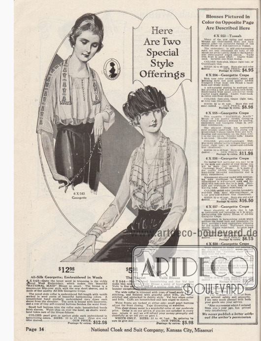 """""""Hier sind zwei besondere Mode-Angebote"""" (engl. """"Here Are Two Special Style Offerings""""). Zwei Damenblusen aus Seiden-Georgette oder Voile (Schleierstoff). Die erste Bluse oben links im Kimono-Schnitt mit kurzen Ärmeln ist mit farbiger Woll-Stickerei, Knöpfen und Hohlnähten ausgeführt. Neuartig ist der Stola-Kragen. Taille mit elastischem Band. Das Modell rechts unten ist mit Biesen gearbeitet und besitzt einen jabotartig ausfallenden Kragen mit Hohlnähten und Spitzenkante. Ärmelaufschläge ebenfalls mit Hohlnähten und Spitze."""