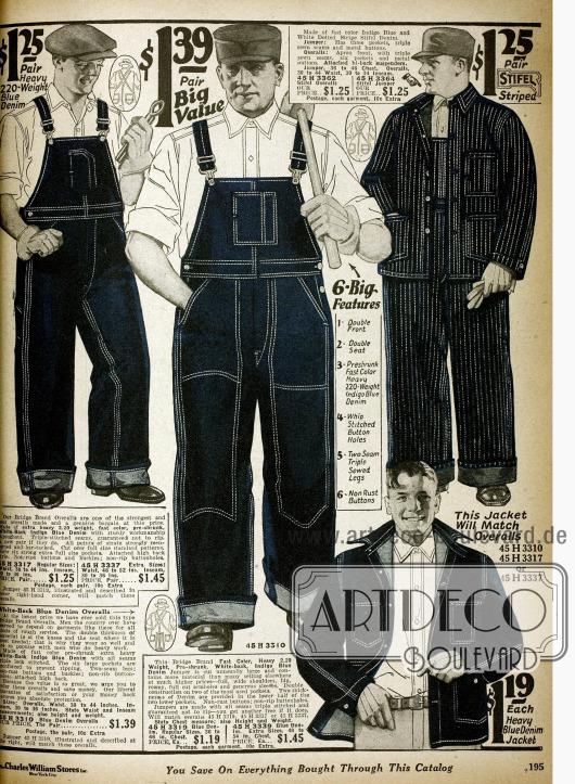 Doppelseite Arbeitskleidung wie Arbeitsoveralls und Jacken aus Jeansstoff mit verstärkten Nähten.