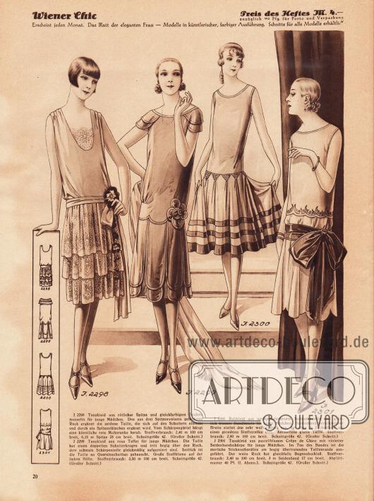 2298: Tanzkleid aus rötlicher Spitze und gleichfarbigem Seidenmusselin für junge Mädchen. Den aus drei Spitzenvolants gebildeten Rock ergänzt die seidene Taille, die sich auf den Schultern einreiht und durch ein Spitzenlätzchen ergänzt wird. Vom Schärpengürtel hängt eine künstliche rote Mohnranke herab. 2299: Tanzkleid aus rosa Taffet für junge Mädchen. Die Taille hat einen doppelten Schulterkragen und tritt bogig über den Rock, dem schmale Schärpenteile gleichmäßig aufgarniert sind. Seitlich ist die Taille an Quereinschnitten gebauscht. Große Stoffblume auf der linken Hüfte. 2300: Ballkleid aus aprikosenfarbenem Seidenmusselin mit grünlich blauem Bandbesatz für junge Mädchen. Seidenband verschiedener Breite stattet den sehr weiten Rock aus, der oben in Zackenform auf einen gereihten Stoffstreifen tritt. Ärmellose glatte Taille. 2301: Tanzkleid aus pastellblauem Crêpe de Chine mit violetter Seidenbandschärpe für junge Mädchen. Im Ton des Bandes ist die zierliche Stickereibordüre am bogig übertretenden Taillenrande ausgeführt. Der weite Rock hat gleichfalls Bogenabschluß.