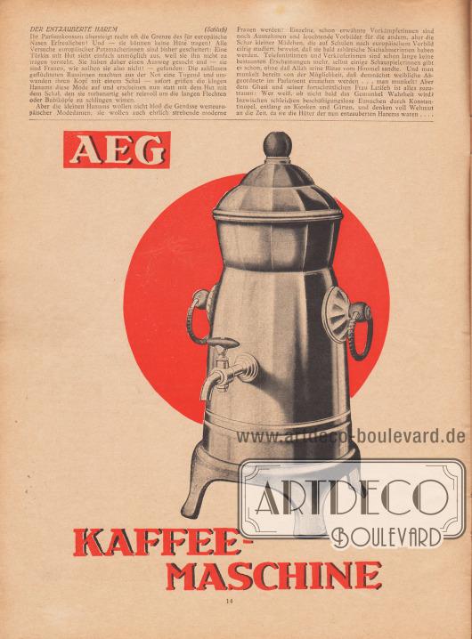 Artikel: Opitz, Annie, Der entzauberte Harem.  Werbung: AEG Kaffeemaschine. Zeichnung/Illustration: unbekannt/unsigniert.