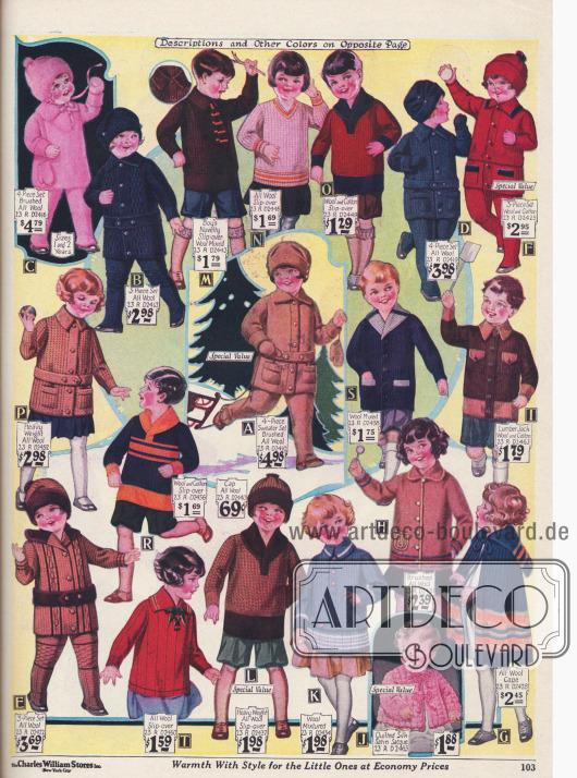 Kinderkleidung. Strickanzüge und Strickkleidchen für Kinder bis 4 Jahre.