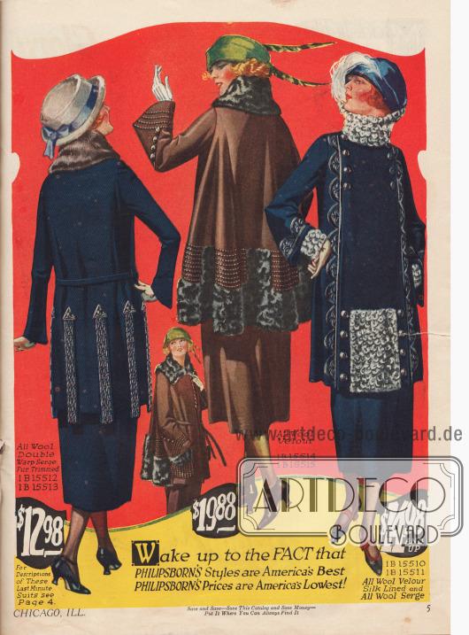 Aus Woll-Velours und Woll-Serge gefertigte Kostüme mit Besatz aus Kaninchenpelz und Pelzstoffen. Die Jacke des linken Modells ist mit zweifarbigen, aufgestickten Seidenpfeilen geschmückt, während die Jacke des rechten Modells mit Panelen von der Schulter bis zum Saum und an den Ärmeln verschönt ist.