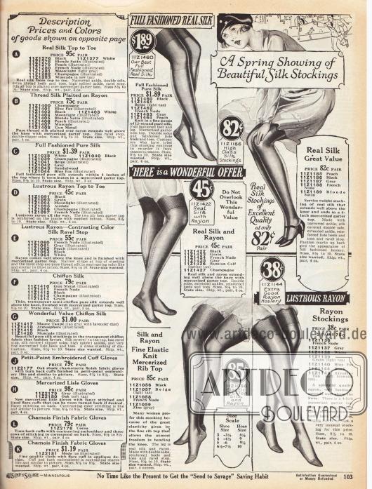 Links sind die ausführlichen Beschreibungen für die Artikel auf der gegenüberliegenden Farbseite 102. Rechts werden Damenstrümpfe aus reinen Seidengeweben (82 Cent bis 1,89 Dollar), Rayon-Seiden-Mischgeweben (45 bis 85 Cent) und schimmerndem Rayon angeboten (38 Cent).