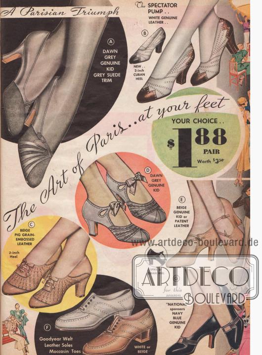 An der Schuhmode hat sich Anfang der 1930er Jahre kaum etwas geändert. Pumps, Oxfords und Schnallenschuhe.