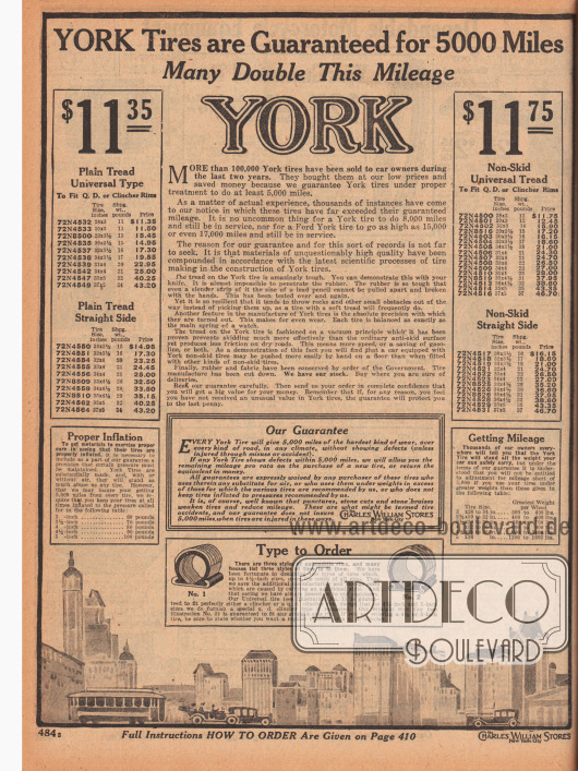 """""""York Reifen haben eine Garantie für 5.000 Meilen [über 8.000 Kilometer, M. K.] – viele übertreffen diese Fahrleistung um das Doppelte"""" (engl. """"YORK Tires are Guaranteed for 5000 Miles – Many Double This Mileage""""). Autoreifen der Marke York mit glattem Profil für 11,35 oder rutschfester Universallauffläche für 11,75 Dollar."""