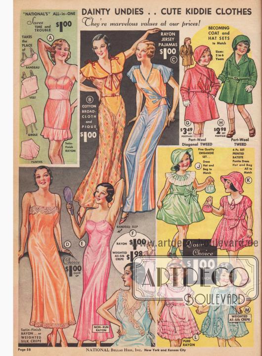 Unterkleider, Unterwäsche und Pyjamas für Frauen und Kleidchen für Mädchen.