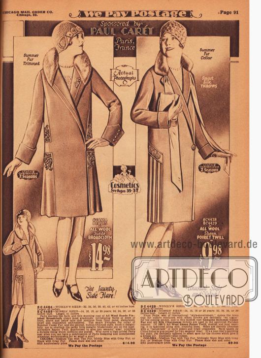Zwei Damenmäntel für das Frühjahr, die vom Pariser Designer Paul Carét zur Frühjahrkollektion von Chicago Mail Order beigesteuert wurden. Die Mäntel sind aus Woll-Velours-Breitgewebe und Poiret-Wolle. Als Kragenbesatz dienen bei beiden Modellen Kaninchenfell (Sommerfell). Beides fotografische Abbildungen. Das linke Modell wurde mit Falten werfenden, seitlichen Stoffeinsätzen am Saum erweitert. Dekorative Stickereien und unauffällige Biesen schmücken den Mantel. Ein seitlicher Plisseeeinsatz mit hübschen Stickereien darüber sowie zwei Bänder aus glänzendem Seiden-Charmeuse sind die modischen Noten des rechten Frühjahrsmantels.