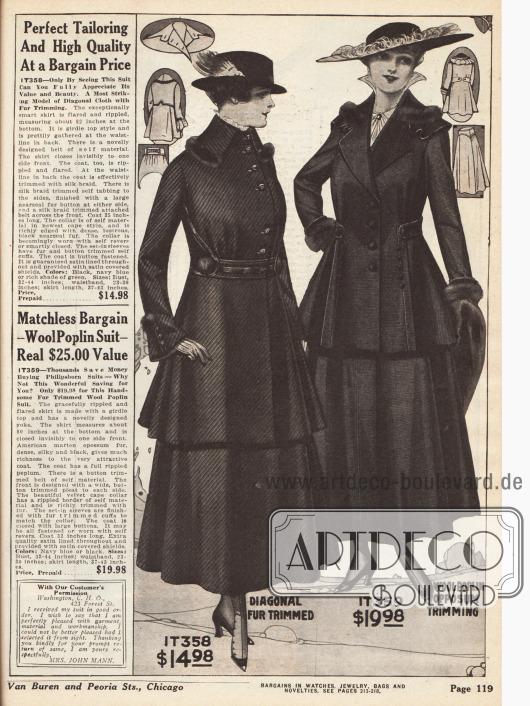"""Damenkostüme aus diagonalem Wollstoff und Woll-Popelin. Das erste Kostüm zeigt intensiven Tressenbesatz an Gürtel und Taille. Im Vergleich zum zweiten Modell zeigt sich auch, dass die Jacke länger geschnitten ist. Beide Modelle weisen zudem schmale Pelzrollen an Kragen und als kleine Pompons auf, die aus Fichtenmarder (engl. """"American marten"""") gefertigt sind."""