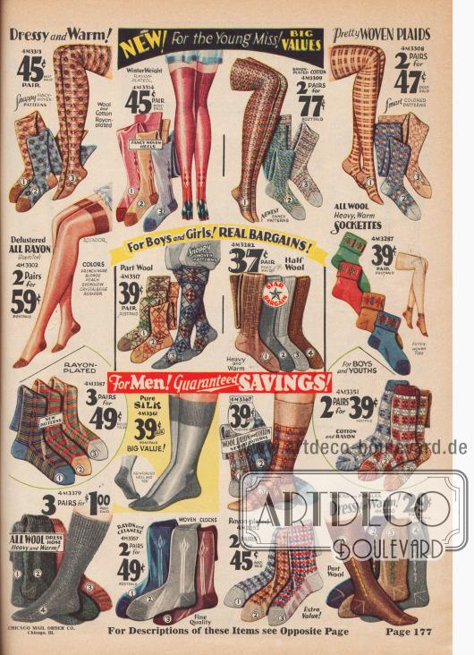 Warme Socken und Strümpfe in verschiedenen Designs aus Seide, Wolle, Baumwolle und Celanese.