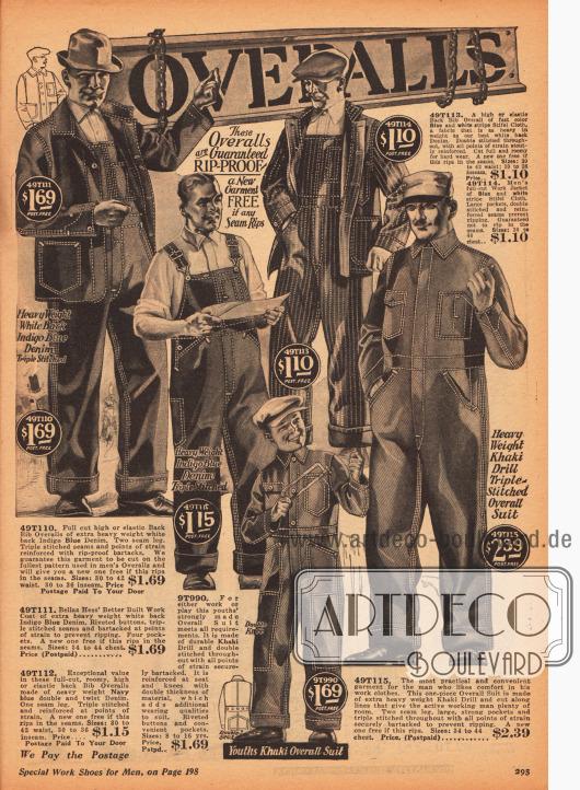 Arbeitskleidung und Overalls für Männer aus Jeans und Khaki.